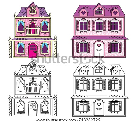 Classic Dollhouse Illustration. Vector Cartoon Image. Coloring Pages Set