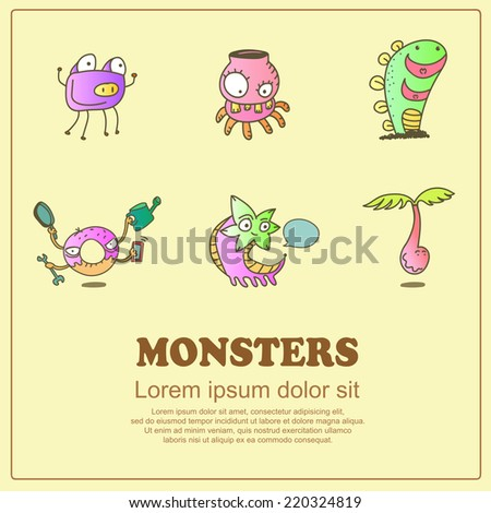 Classic doodle cartoon cute monsters