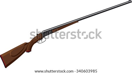 classic double barreled shotgun with horizontal barrels