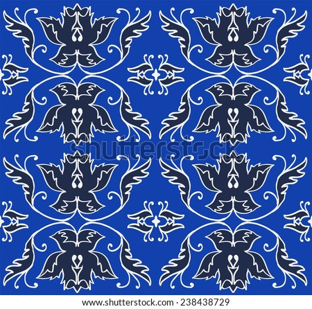 classic elegant floral pattern for fabric, paper, cover, lining, background, greeting cards.neutral and elegant pattern on a Royal blue background with navy flowers