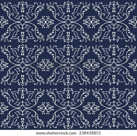 classic elegant floral pattern for fabric, paper, cover, lining, background, greeting cards.neutral and elegant pattern on a navy background - stock vector
