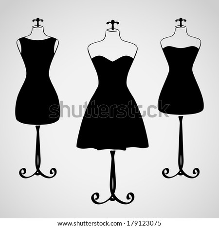 Classic female dress on mannequin silhouette set - stock vector