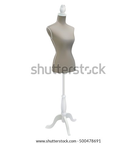 classic female vintage grey dressmakers fashion tailors dummy mannequin display bust with wooden base isolated on white background. vector illustration