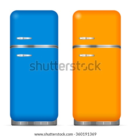 Classic fridge set on a white background. Vector illustration. - stock vector
