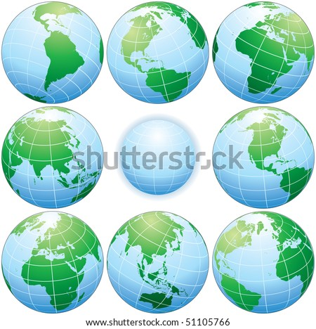 Classic globes with various angle,  detailed vector illustration
