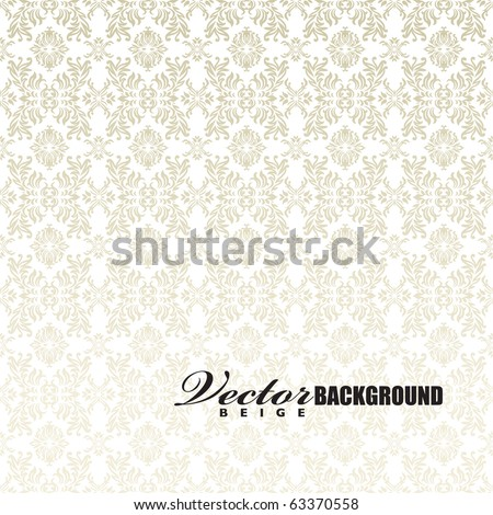 Classic gothic floral wallpaper background pattern in white and beige - stock vector
