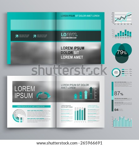 Classic green brochure template design with square horizontal shapes. Cover layout and infographics - stock vector