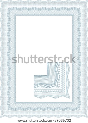 Classic guilloche border for diploma or certificate - stock vector