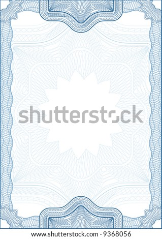Classic guilloche border for diploma or certificate. A4 .  Layers are separated! - stock vector