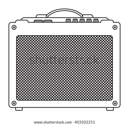 Classic guitar and bass amplifier for concerts and festivals outlined and in black and white