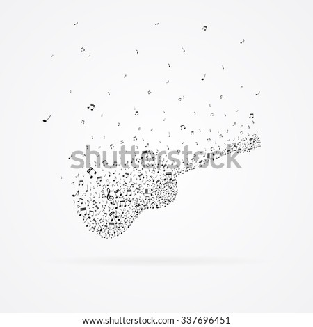 Classic guitar made from floating notes isolated on white. - stock vector