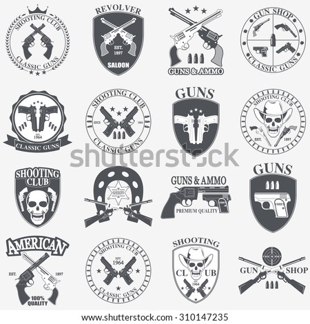 Classic Guns emblem with pistols vector illustration - stock vector