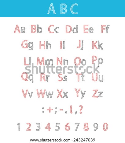 Classic hand drawn alphabet made in vector. ABC for your design.Fully editable vector illustration. - stock vector