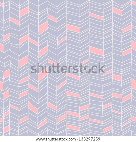 Classic hand drawn chevron seamless pattern. Elegant zig zag background. Line texture in pastel color. Vector illustration - stock vector