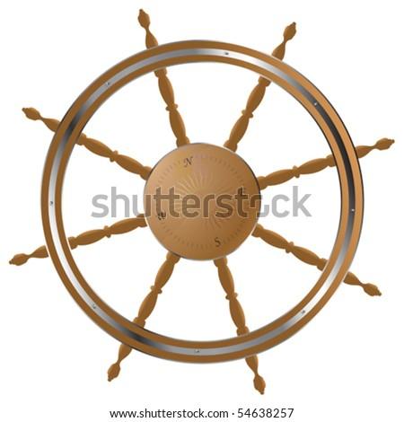 Classic helm steering wheel - stock vector