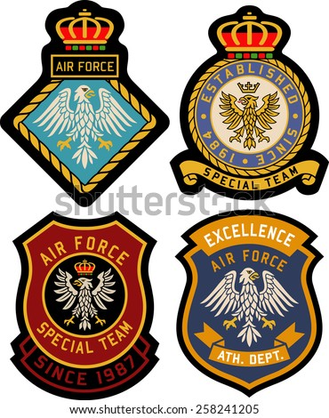 classic heraldic royal emblem badge set - stock vector