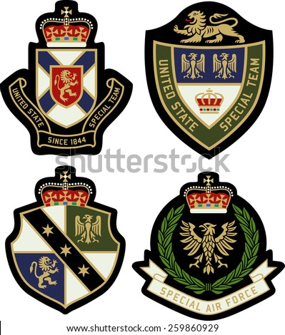 classic heraldic royal emblem badge shield - stock vector