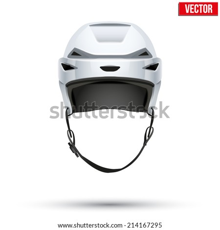 Classic Ice Hockey Helmet. Sports Vector illustration  isolated on white background.