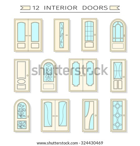 Vector Seamless Pattern Different Types Windows Stock