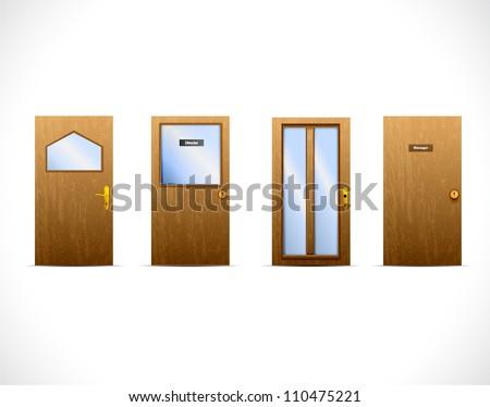 Classic interior doors - stock vector