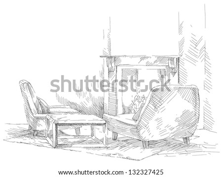 Classic interior hand drawing - stock vector