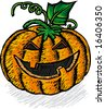 Classic Jack o' Lantern image in engrave style - stock vector