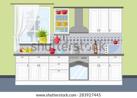 Classic kitchen interior in flat style