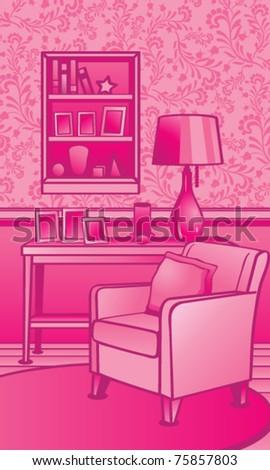Classic Living Room Illustration Stock Vector 75857803 - Shutterstock