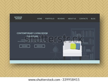 Classic living room interior with contemporary furniture . Flat stylish design. Horizontal banner on wooden pattern. Isolated abstract elements . Vector illustration - 10 EPS - for your advertising - stock vector