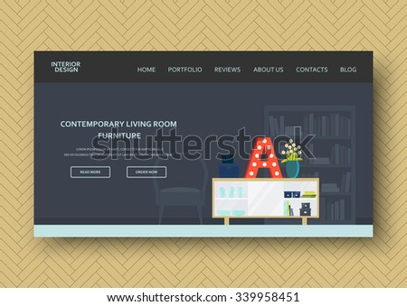 Classic living room interior with modern furniture: sideboard, chair, bookshelf. Flat stylish design. Horizontal banner on wooden pattern. Vector illustration - 10 EPS - for your advertising - stock vector