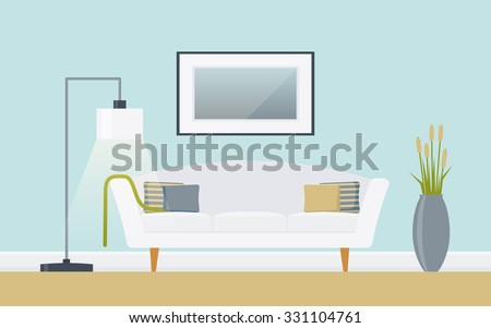 Classic living room with sofa, picture, standard-lamp and vase. Lounge concept interior with classic, modern furniture . Flat design, minimalist style. Vector illustration - 10 EPS - for your project - stock vector