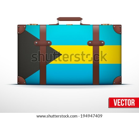 Classic luggage suitcase with flag Bahamas for travel. Vector Illustration. Editable and isolated. - stock vector
