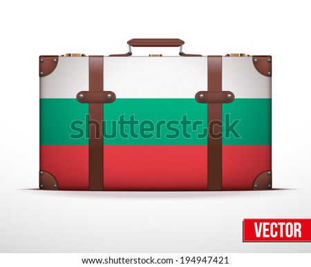 Classic luggage suitcase with flag Bulgaria for travel. Vector Illustration. Editable and isolated. - stock vector