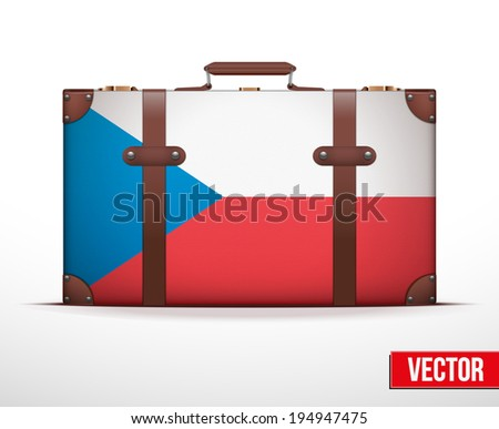Classic luggage suitcase with flag Czech Republic for travel. Vector Illustration. Editable and isolated. - stock vector