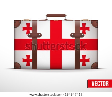 Classic luggage suitcase with flag Georgia for travel. Vector Illustration. Editable and isolated. - stock vector