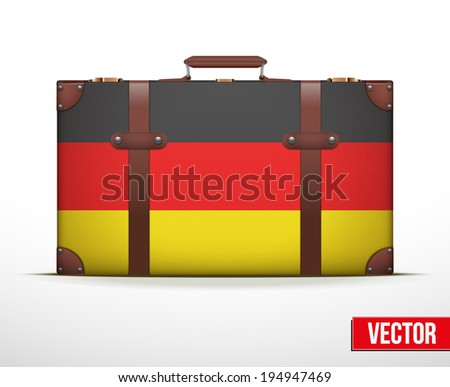 Classic luggage suitcase with flag Germany for travel. Vector Illustration. Editable and isolated. - stock vector