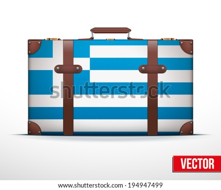 Classic luggage suitcase with flag Greece for travel. Vector Illustration. Editable and isolated. - stock vector