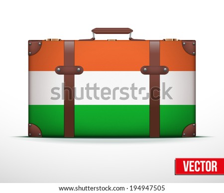 Classic luggage suitcase with flag Hungary for travel. Vector Illustration. Editable and isolated. - stock vector