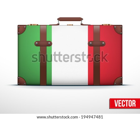 Classic luggage suitcase with flag Italy for travel. Vector Illustration. Editable and isolated. - stock vector