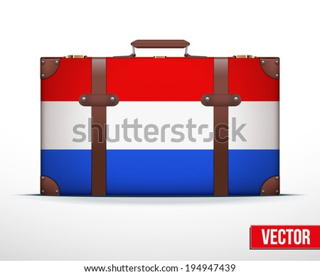 Classic luggage suitcase with flag Netherlands for travel. Vector Illustration. Editable and isolated. - stock vector