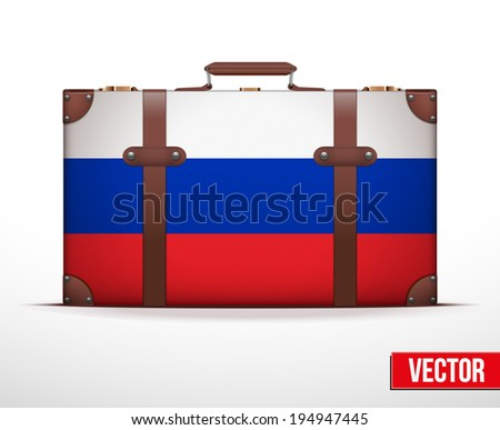 Classic luggage suitcase with flag Russia for travel. Vector Illustration. Editable and isolated. - stock vector
