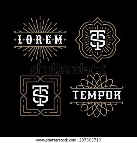 classic luxury golden art deco linear monochrome minimal hipster geometric vintage vector monogram, frame , border , label  for your logo badge or crest - stock vector