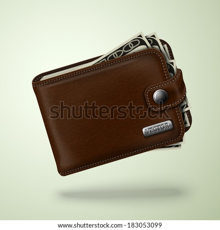 Classic modern brown leather pocket closed fat wallet filled with dollar banknotes vector illustration - stock vector