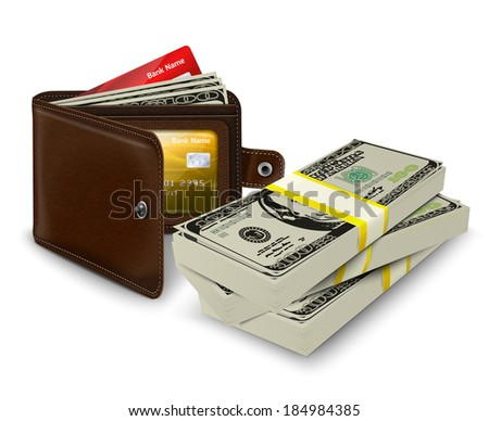 Classic modern brown leather pocket open wallet with credit card money bills and bank roll vector illustration - stock vector