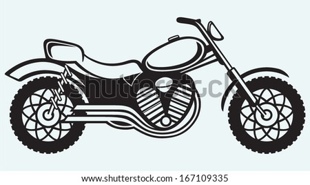 Classic motorcycle isolated on blue background - stock vector