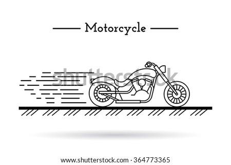 classic motorcycle traveling on the highway at high speed in a flat style of painted lines - stock vector
