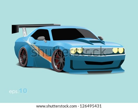 Classic Muscle Car Vector - stock vector