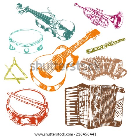 Classic musical concert instruments icons set of key accordion fiddle drum color doodle sketch vector isolated illustration - stock vector