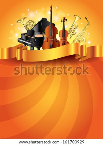 Classic musical instruments shiny golden vector background - stock vector