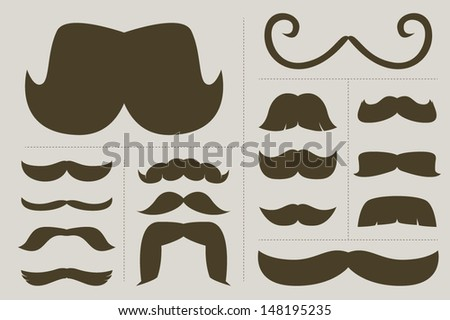 classic mustache collection 2 - stock vector